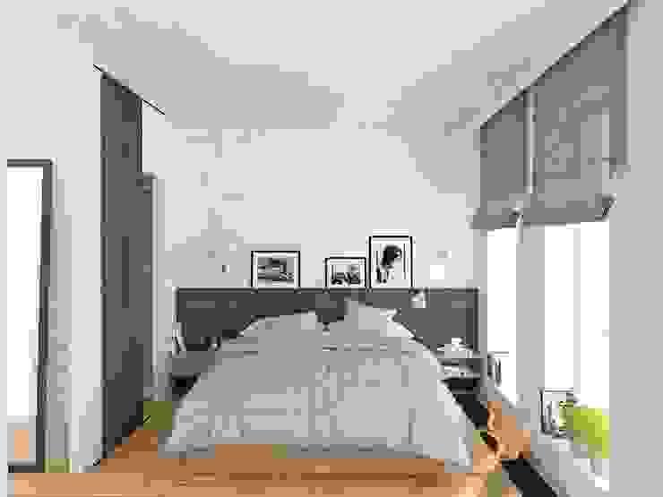 Mieszkanie Młodego Marynarza w Gdyni Nowoczesna sypialnia od BEZ CUKRU studio projektowe Nowoczesny