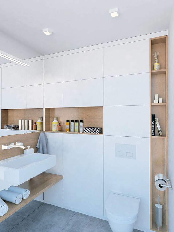 Mieszkanie Młodego Marynarza w Gdyni Nowoczesna łazienka od BEZ CUKRU studio projektowe Nowoczesny