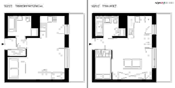 czarno - biała kawalerka Minimalistyczne ściany i podłogi od nomad studio Minimalistyczny