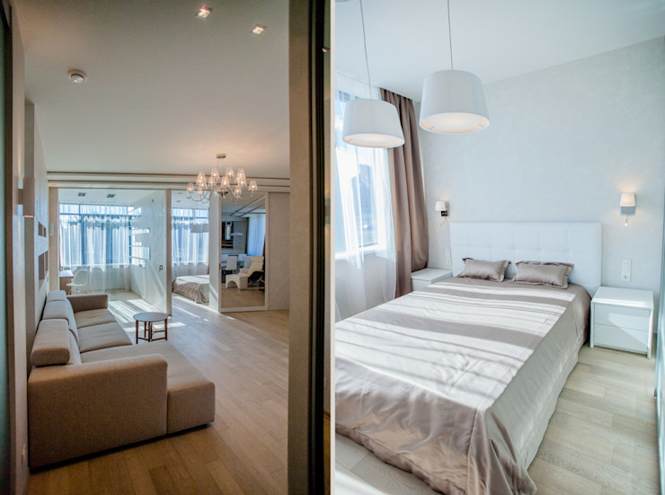 Демонстрационная квартира жилого комплекса AQUAMARINE Спальня в стиле минимализм от Center of interior design Минимализм