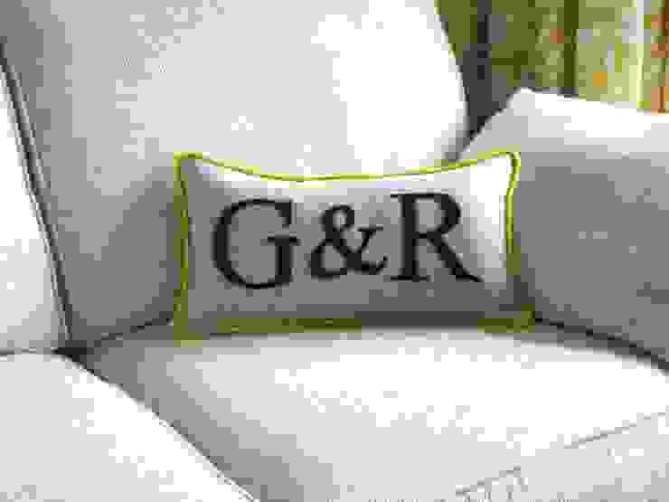 Couples Initials Colour Flash Cushion with Yellow Piping Kate Sproston Design HogarAccesorios y decoración