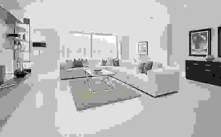 Modern basement lounge with porcelain tile floors por Porcel-Thin Moderno