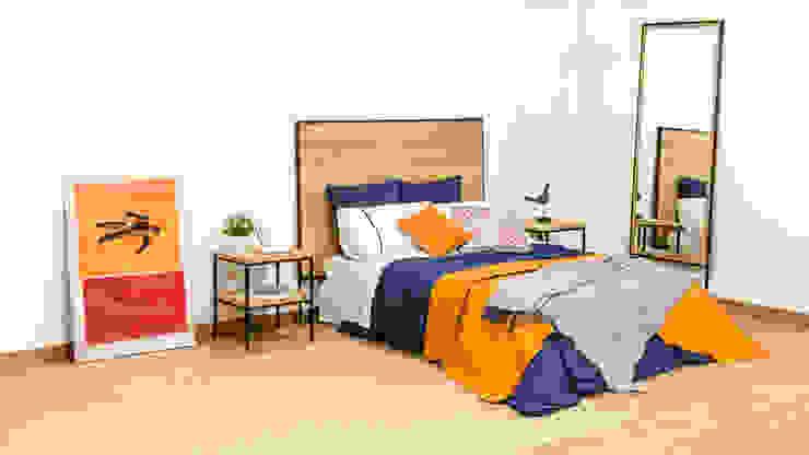 Dormitorio industrial con cabecero, mesillas y espejo de madera maciza y acero:  de estilo industrial de Cube Deco, Industrial