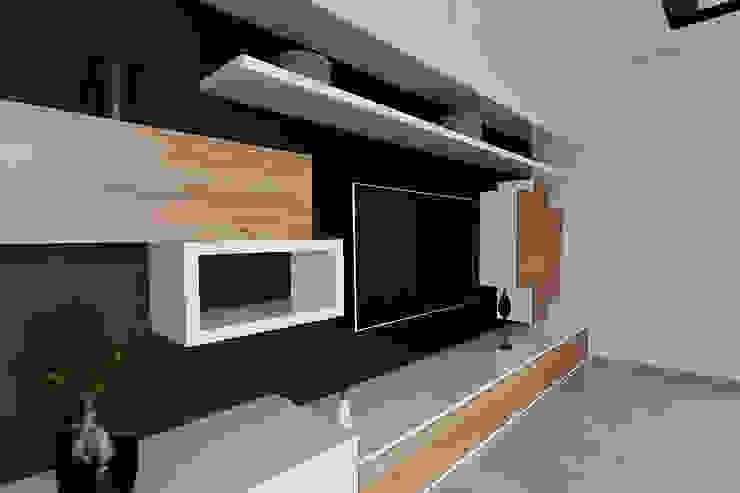 salon, zabudowa ścianki tv Skandynawski salon od ap. studio architektoniczne Aurelia Palczewska-Dreszler Skandynawski