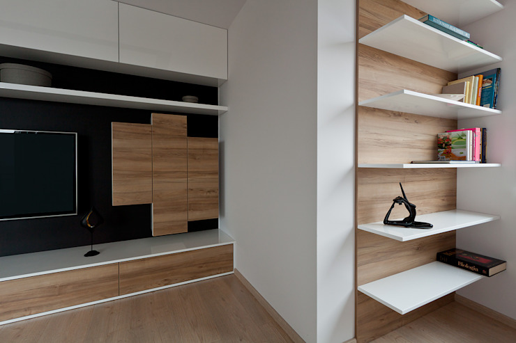 salon, półki na książki Skandynawski salon od ap. studio architektoniczne Aurelia Palczewska-Dreszler Skandynawski