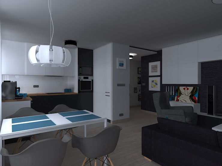 Ruang Keluarga Gaya Skandinavia Oleh ap. studio architektoniczne Aurelia Palczewska Skandinavia