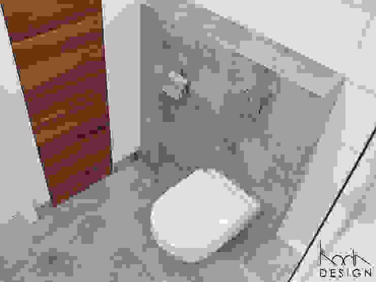 ŁAZIENKA W ODCIENIACH BETONU I DREWNA Nowoczesna łazienka od studio projektowe KODA design Dawid Kotuła Nowoczesny