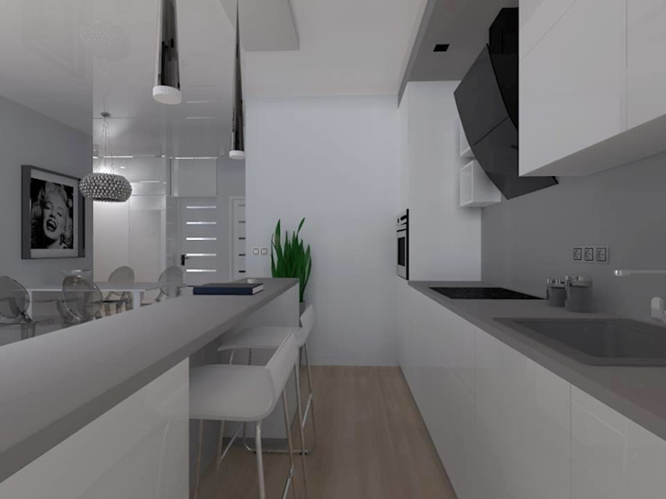 mieszkanie w Działdowie Nowoczesna kuchnia od ap. studio architektoniczne Aurelia Palczewska-Dreszler Nowoczesny