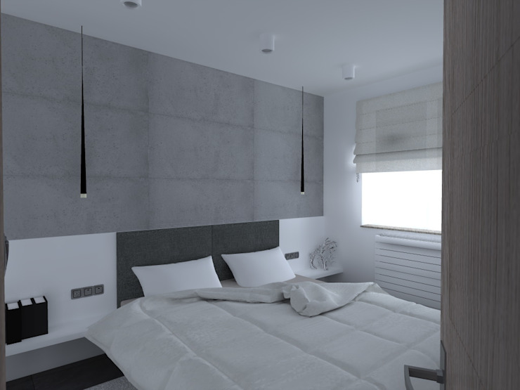 minimalistyczne mieszkanie w Iławie Minimalistyczna sypialnia od ap. studio architektoniczne Aurelia Palczewska Minimalistyczny
