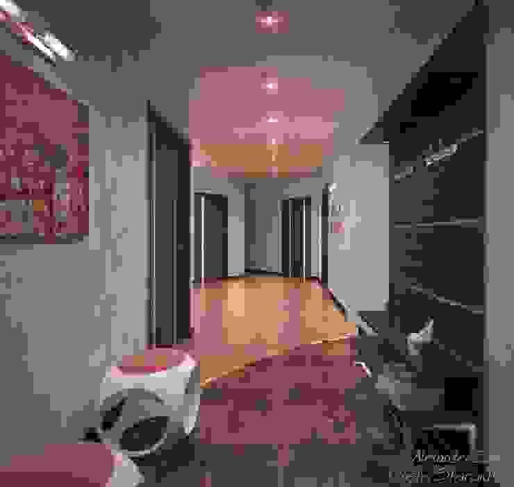 """Дизайн кухни-гостиной и прихожей в ЖК """"Новый город"""" Коридор, прихожая и лестница в модерн стиле от Студия интерьерного дизайна happy.design Модерн"""