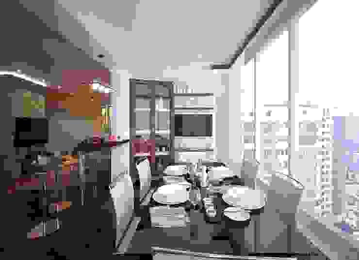 """Дизайн кухни-гостиной и прихожей в ЖК """"Новый город"""" Балкон и терраса в стиле модерн от Студия интерьерного дизайна happy.design Модерн"""
