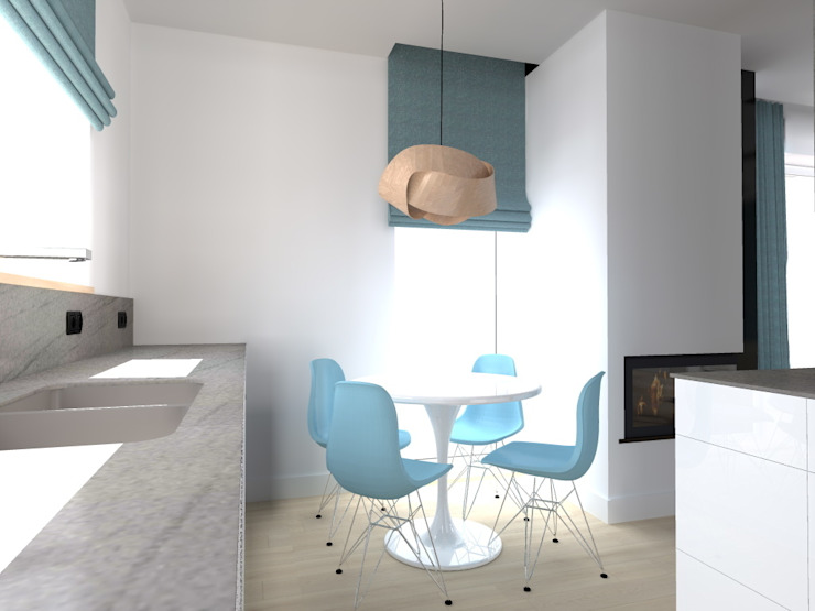 salon w Nowym Dworze Nowoczesna kuchnia od ap. studio architektoniczne Aurelia Palczewska-Dreszler Nowoczesny