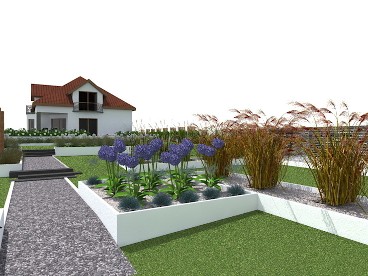 ogród w Mławie Nowoczesny ogród od ap. studio architektoniczne Aurelia Palczewska-Dreszler Nowoczesny