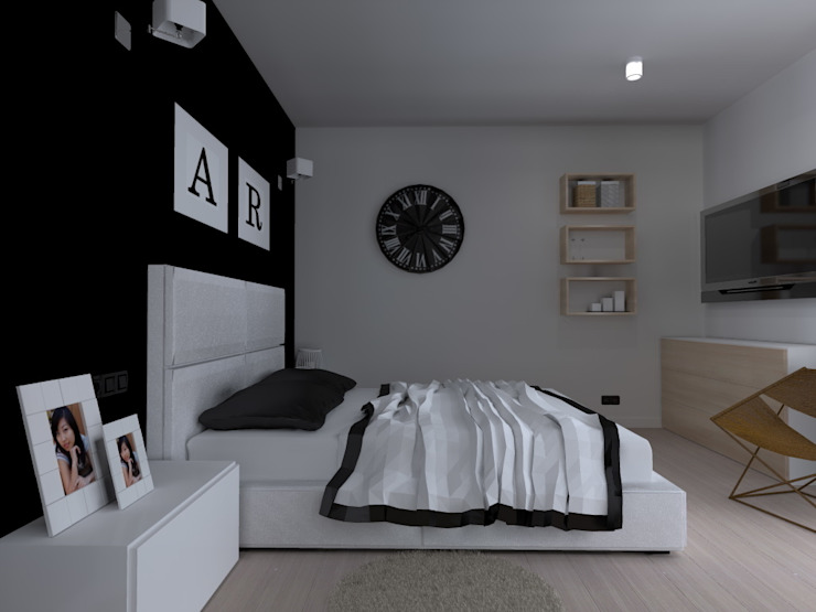 dom koło Nowego Miasta Lubawskiego Nowoczesna sypialnia od ap. studio architektoniczne Aurelia Palczewska-Dreszler Nowoczesny