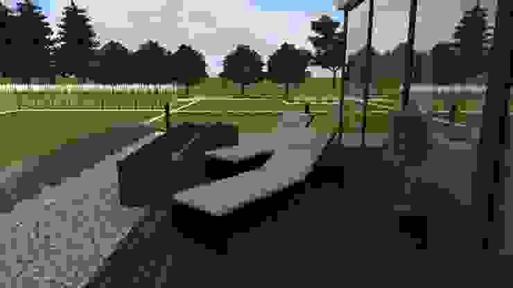 dom z ogrodem koło Nowego Miasta Lubawskiego Nowoczesny balkon, taras i weranda od ap. studio architektoniczne Aurelia Palczewska-Dreszler Nowoczesny