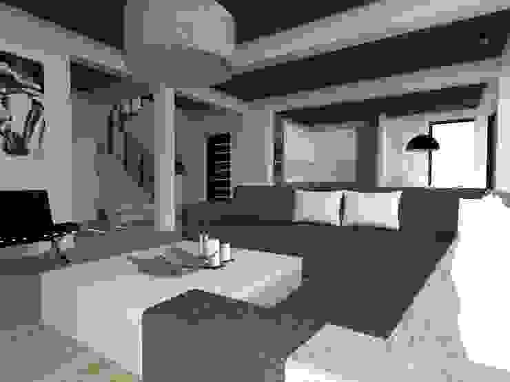 dom z ogrodem koło Nowego Miasta Lubawskiego Nowoczesny salon od ap. studio architektoniczne Aurelia Palczewska-Dreszler Nowoczesny