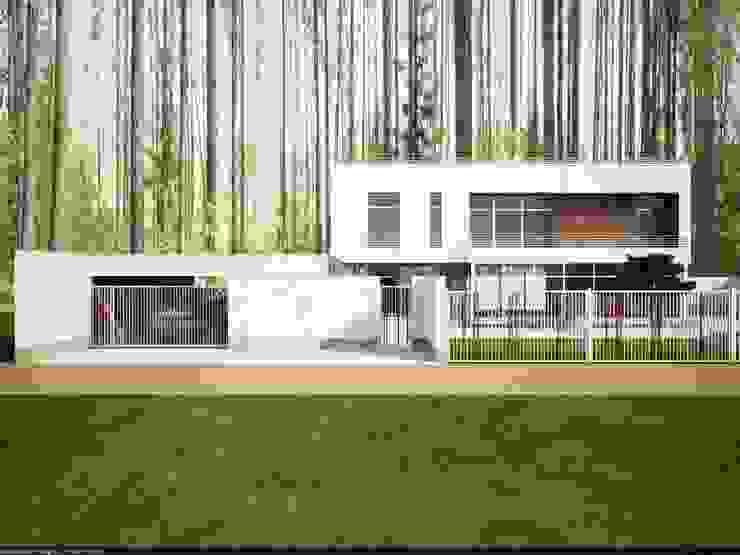 главный фасад Дома в стиле минимализм от студия дизайна Наталии Голубевой Минимализм