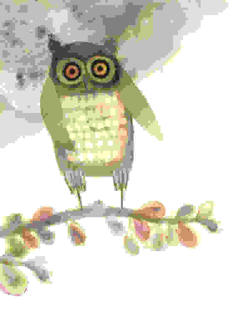 Big-Eyed Owl by Juliet Docherty: modern  by Little Carousel Gallery, Modern