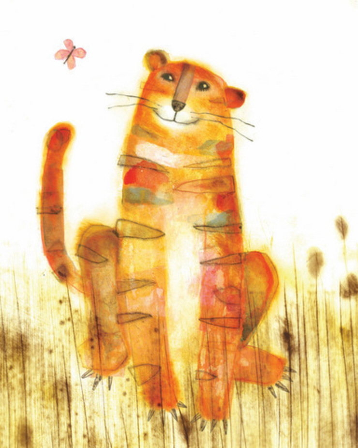 Smiling Tiger by Juliet Docherty: modern  by Little Carousel Gallery, Modern
