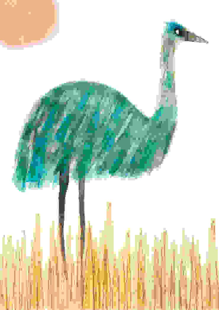 Upright Emu by Juliet Docherty: modern  by Little Carousel Gallery, Modern