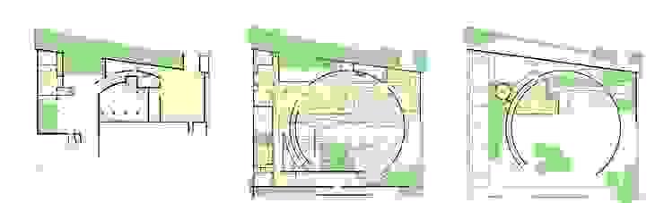 平面図-3層構成 モダンな 家 の 中村弘道・都市建築 計画設計研究所/HIROMICHI NAKAMURA ARCHITECT & ASSOCIATES モダン