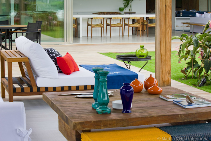 terraços Varandas, alpendres e terraços tropicais por Marilia Veiga Interiores Tropical