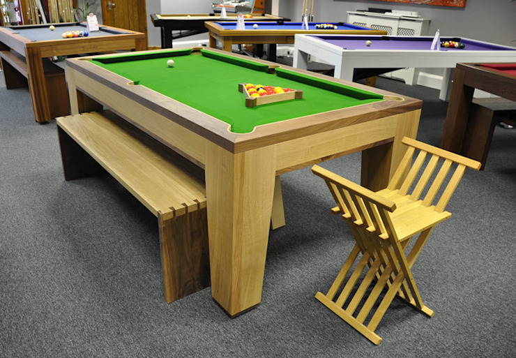 Spartan Pool/Dining Table with Benches and Stool. Designer Billiards ЇдальняТаблиці