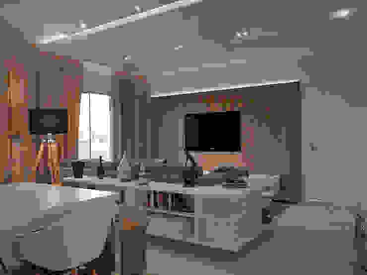 Residência FC+ Salas de estar modernas por Quattro+ Arquitetura Moderno