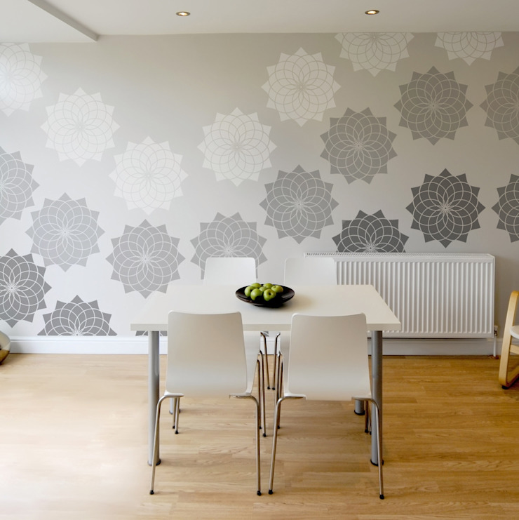 Lotus Flower Stencil. Extra Large for impact! Reusable laser cut stencils from The Stencil Studio Scandinavian Collection: scandinavian  by The Stencil Studio Ltd, Scandinavian