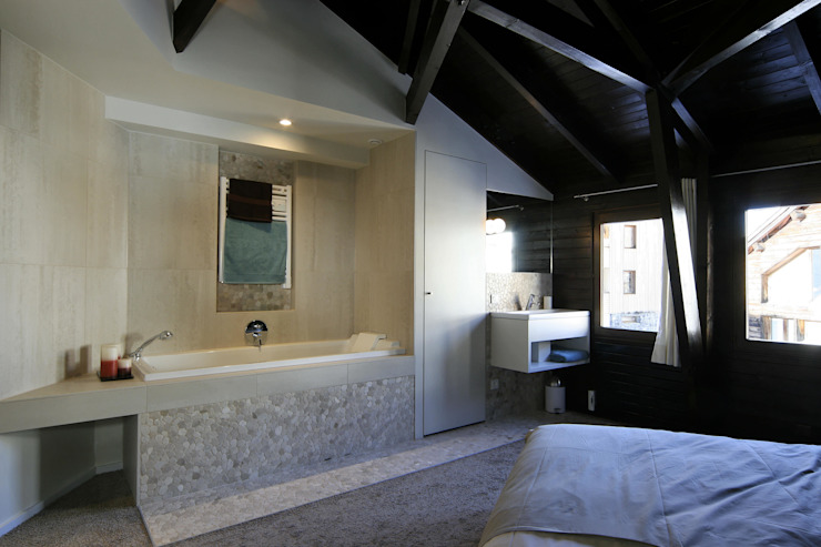 Projekty,  Sypialnia zaprojektowane przez Florine Burger Architecte, Nowoczesny