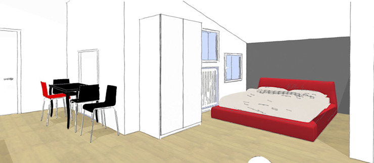 Bozza 3D zona notte di FOSCA de LUCA Home Stager & Redesigner