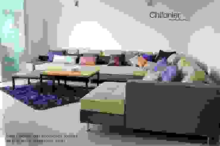 Sala en escuadra en piel Comedores modernos de Chiffonnier Moderno