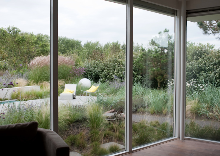 Planten met duinkarakter tot aan gevel. Het landschap naar binnen halen Moderne tuinen van Andrew van Egmond (ontwerp van tuin en landschap) Modern