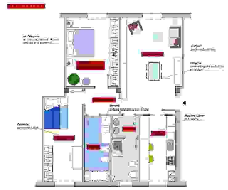 Home restyling per famiglia Camera da letto moderna di architetto Rossana Di San Leonardo Moderno