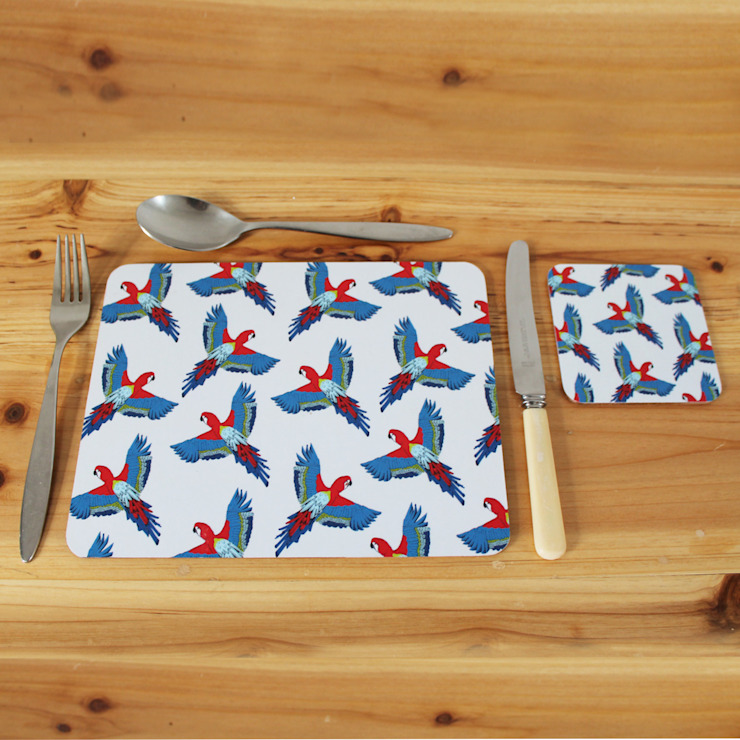 Majestic Macaw Placemats and Coasters: modern  by martha and hepsie ltd, Modern