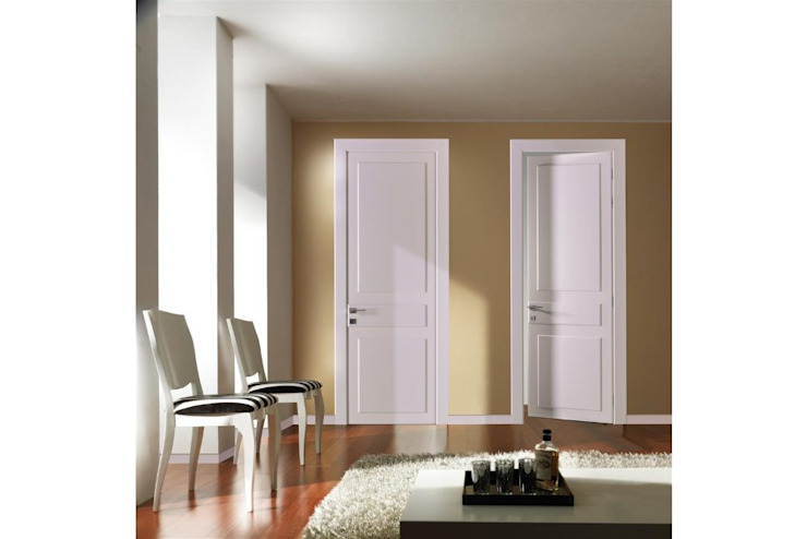 Visual wood doors White RAL 9010 Ash lacquered Modern windows & doors by TONDIN PORTE SRL con unico socio Modern