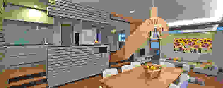 Innenraum - Essplatz und Küche Moderne Esszimmer von Kauffmann Theilig & Partner, Freie Architekten BDA Modern
