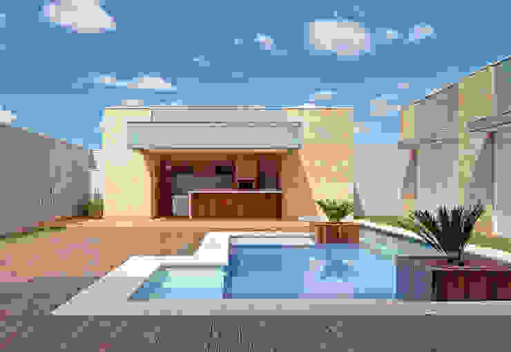 PISCINA E ESPAÇO GOURMET Piscinas modernas por VOLF arquitetura & design Moderno