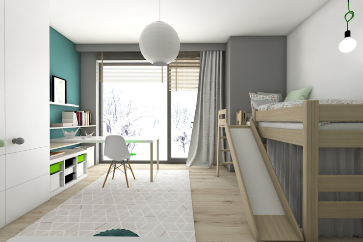 Dormitorios infantiles modernos: de BAGUA Pracownia Architektury Wnętrz Moderno