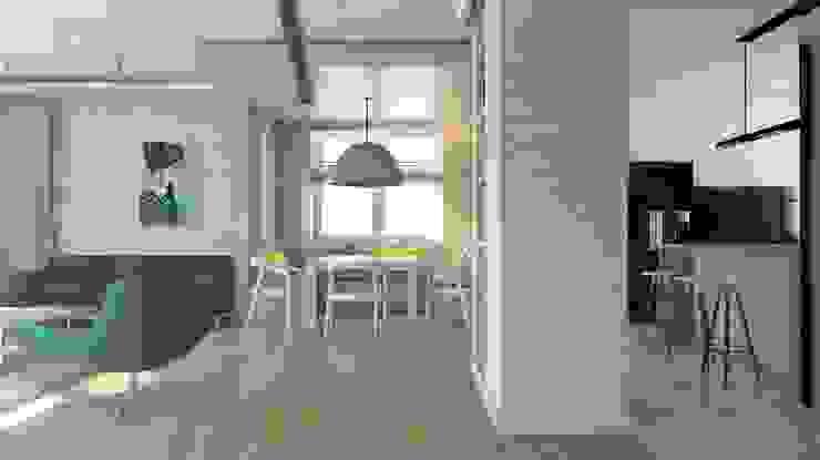 Projekt domu jednorodzinnego 3 (wykonany dla A2.Studio Pracownia Architektury) Skandynawski salon od BAGUA Pracownia Architektury Wnętrz Skandynawski