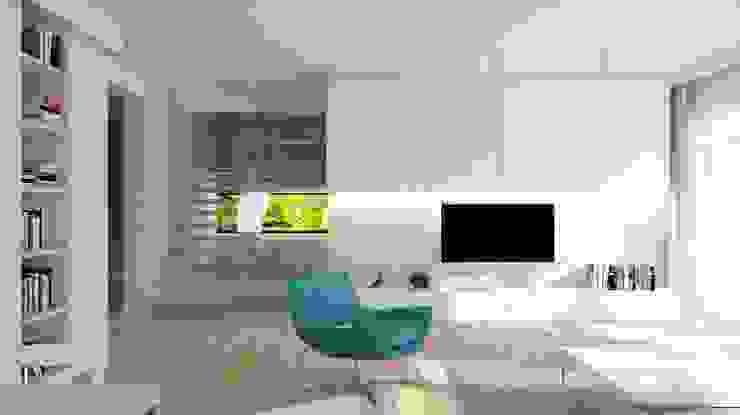 Projekt domu jednorodzinnego 3 (wykonany dla A2.Studio Pracownia Architektury) Nowoczesny salon od BAGUA Pracownia Architektury Wnętrz Nowoczesny