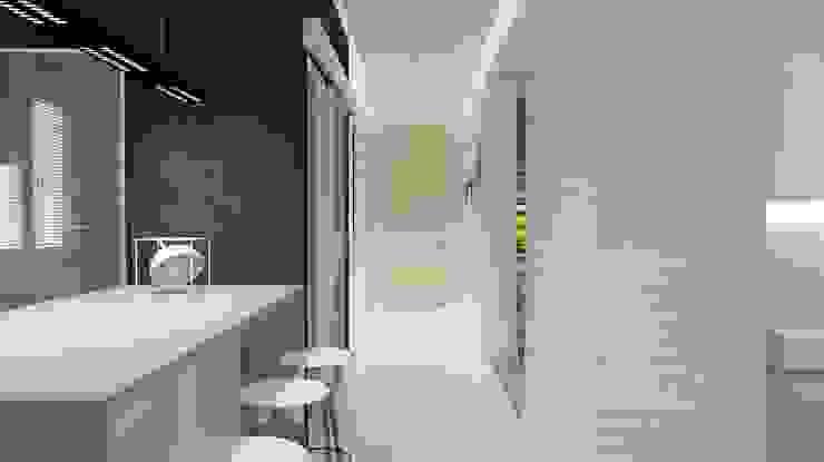 Projekt domu jednorodzinnego 3 (wykonany dla A2.Studio Pracownia Architektury) Nowoczesny korytarz, przedpokój i schody od BAGUA Pracownia Architektury Wnętrz Nowoczesny