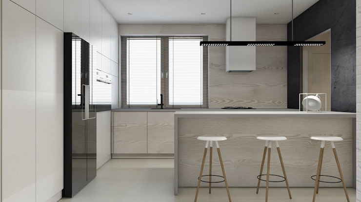 Projekt domu jednorodzinnego 3 (wykonany dla A2.Studio Pracownia Architektury) Nowoczesna kuchnia od BAGUA Pracownia Architektury Wnętrz Nowoczesny