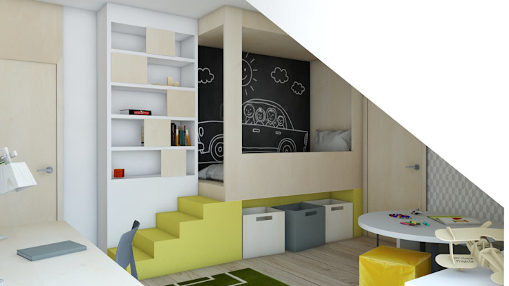 Quartos de criança  por BAGUA Pracownia Architektury Wnętrz,
