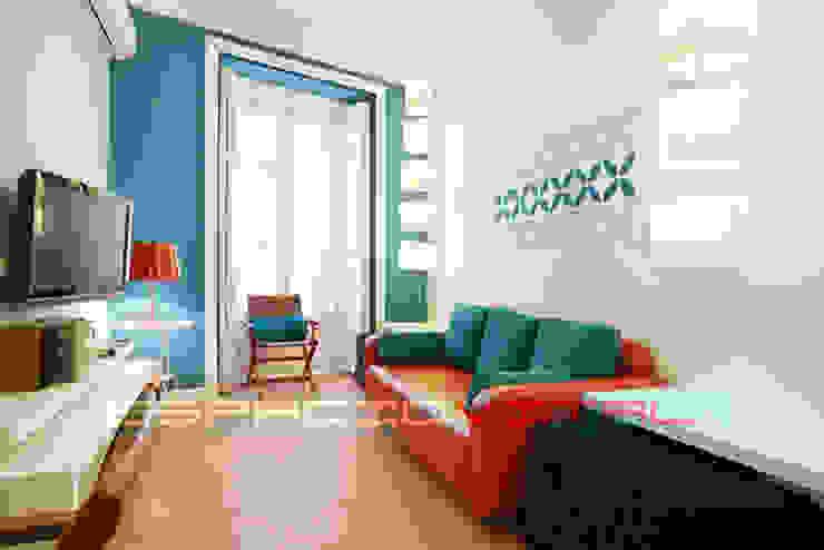 Apartamento Blue Javier Zamorano Cruz Salones de estilo moderno