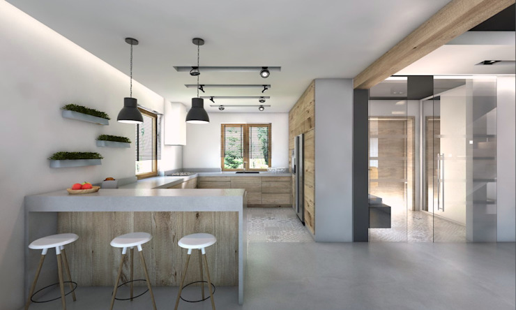 Modern kitchen by BAGUA Pracownia Architektury Wnętrz Modern