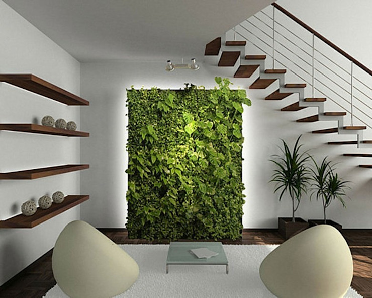 Dotto Francesco consulting Green 隨意取材風玄關、階梯與走廊