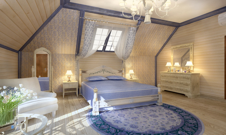 Дом- как мир. Спальня в эклектичном стиле от Студия Ксении Седой Эклектичный