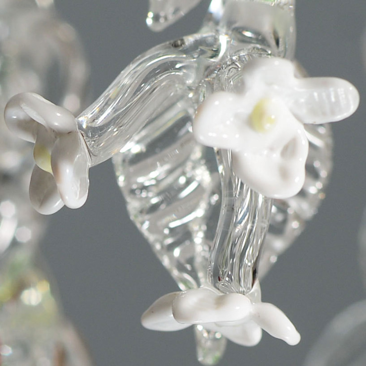 Glass chandelier with strawberries - flower detail: modern  by A Flame with Desire, Modern