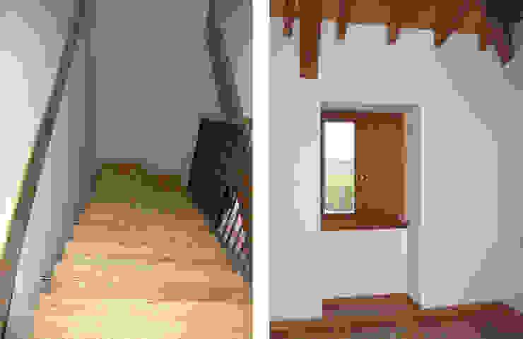 REHABILITACIÓN DE VIVIENDA UNIFAMILIAR Y ANEXOS EN STA. EUFEMIA Pasillos, vestíbulos y escaleras de estilo rural de arquitectura SEN MÁIS Rural